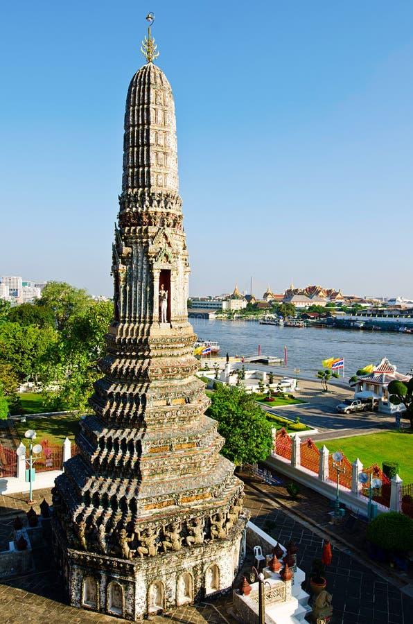在河stupa寺庙泰国附近的广告 免版税图库摄影