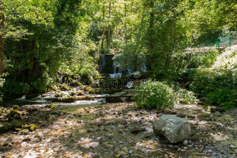 在河Vrelo的瀑布在西部塞尔维亚 免版税库存照片