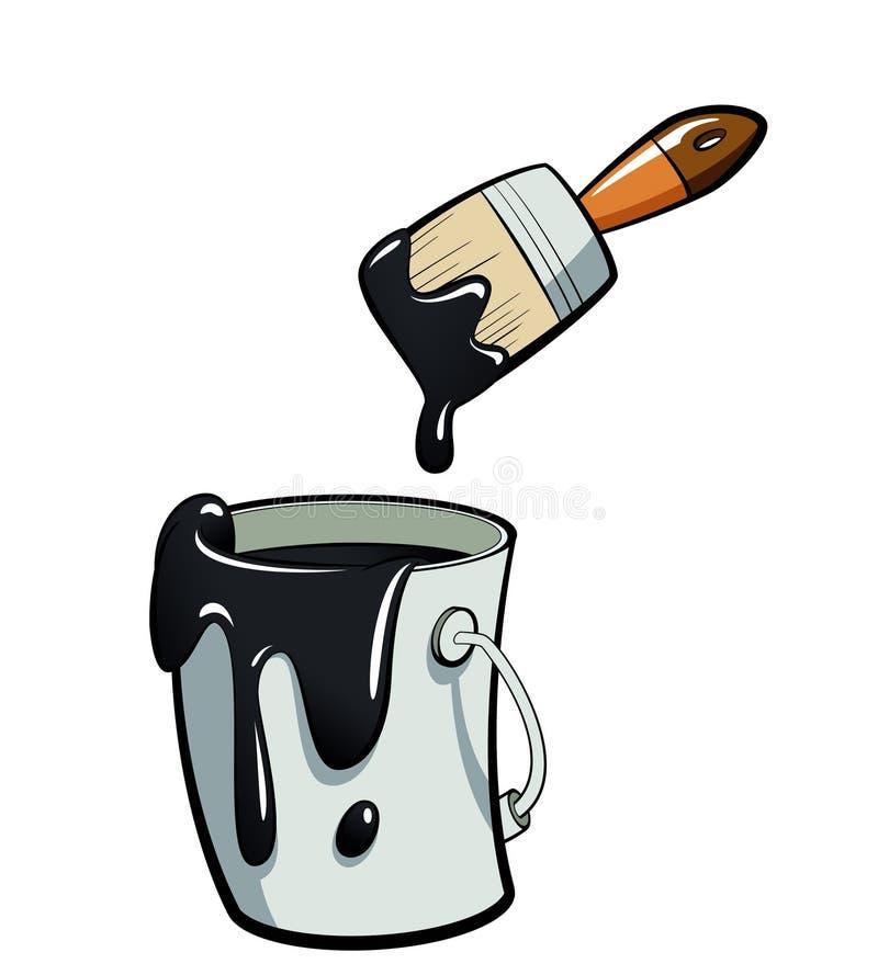 在油漆桶绘画的动画片黑颜色油漆与油漆 向量例证