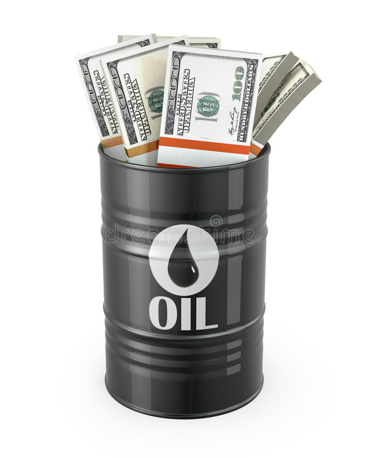 在油里面的桶美元 库存例证