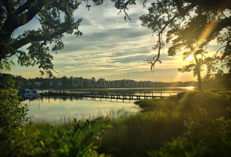 在沼泽的太阳设置 库存照片