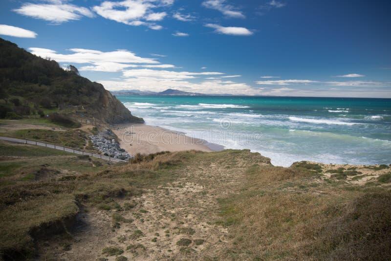 在沿海小径的风景远足在bidart,巴斯克国家,法国 免版税库存图片