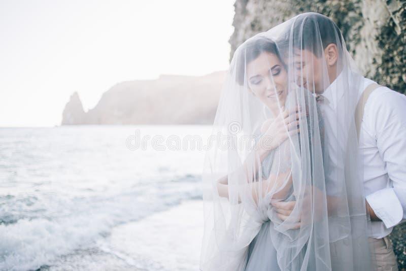 在沿海岸区的美好的夫妇在面纱关闭了,笑,微笑,愉快,婚礼之日,爱 免版税库存图片