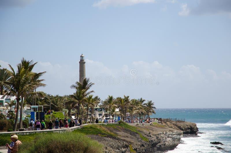 在沿海散步的看法在Maspalomas,大加那利岛,西班牙 图库摄影