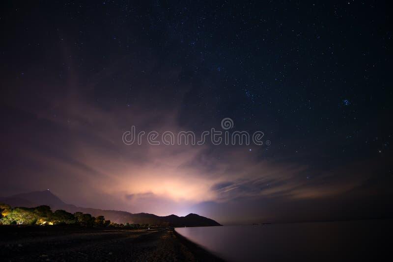 在沿海的夜满天星斗的天空在Cirali,土耳其-使外部环境美化 免版税库存照片