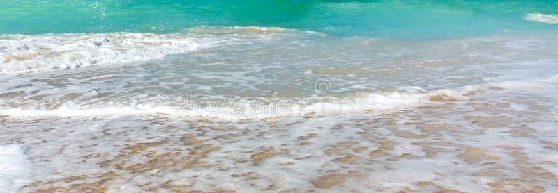 在沿海的波浪海浪,干净的海岸和绿松石水,水平的全景图象,横幅的背景 库存图片