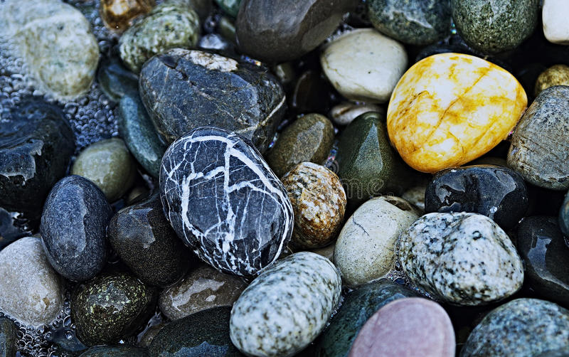 在沿海的石头谎言 免版税图库摄影