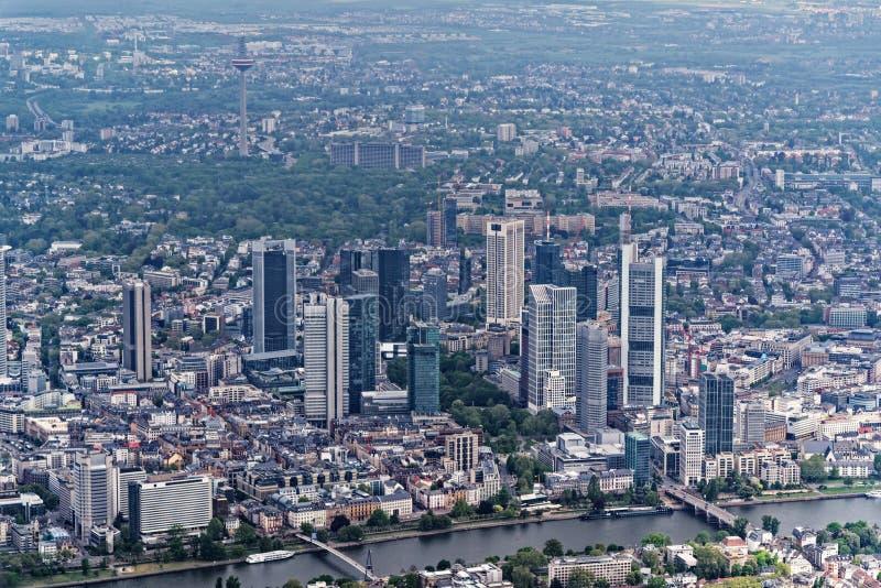 在法兰克福,德国的市中心的鸟瞰图 免版税库存图片