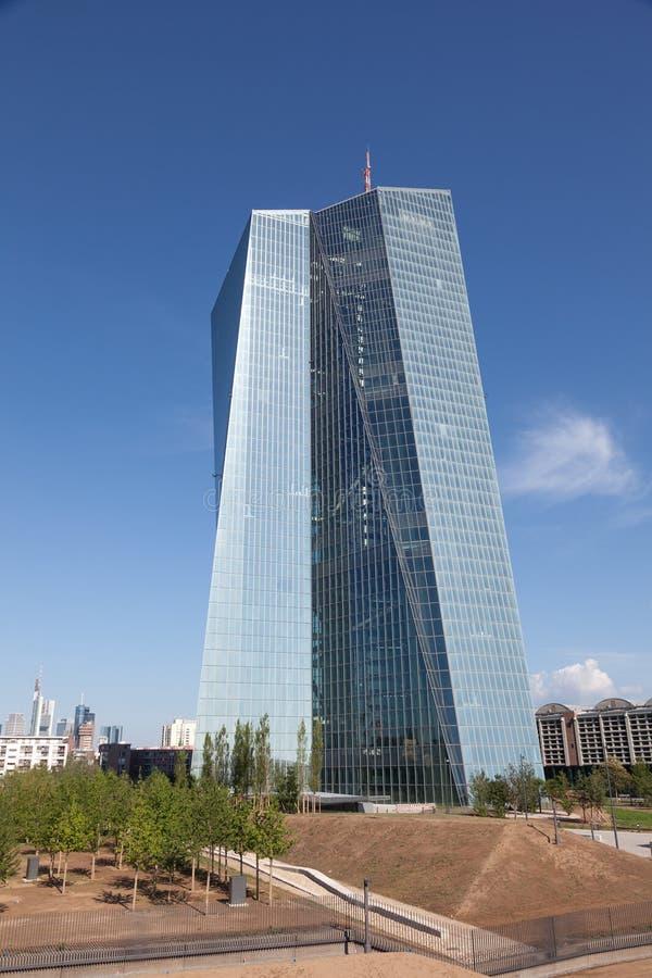 在法兰克福主要的欧洲央行 库存照片