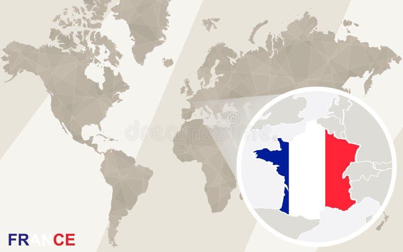 在法国地图和旗子的徒升 例证映射旧世界 库存例证