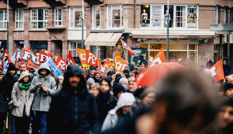 在法国抗议的CGT旗子 库存照片