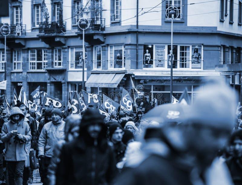 在法国抗议的CGT旗子 图库摄影