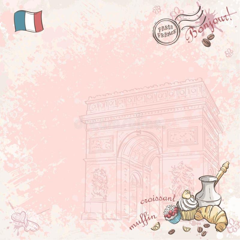 在法国的背景图象用杯形蛋糕和新月形面包 皇族释放例证