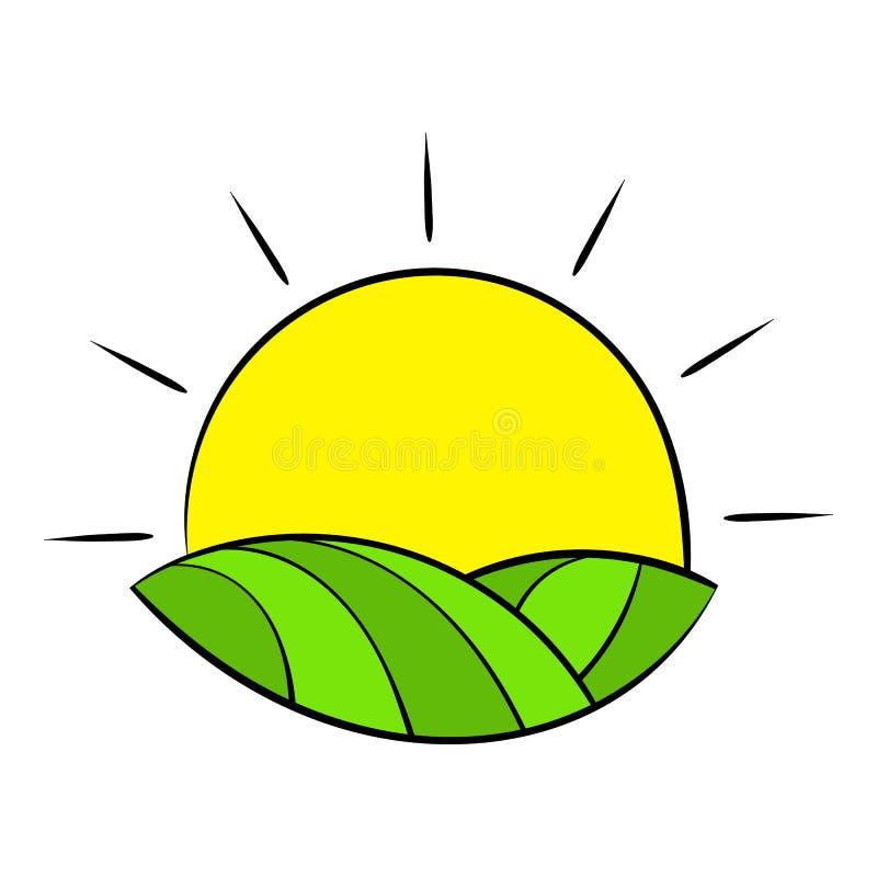 在法国象动画片的领域的太阳 向量例证