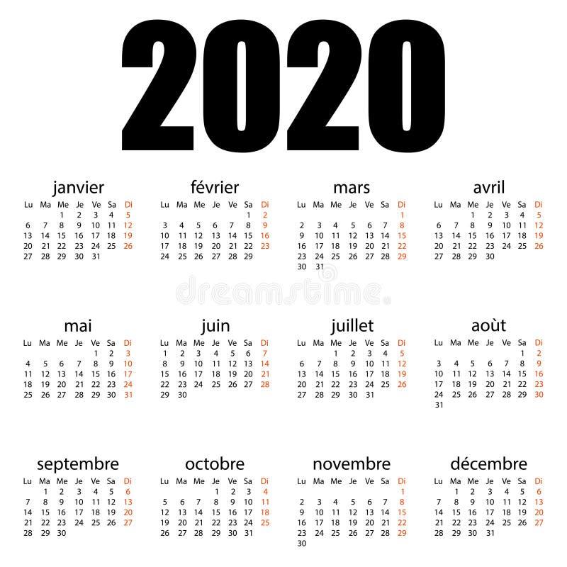 2020年法语日历 撕挂日历 个人组织者 白色背景 矢量图 皇族释放例证