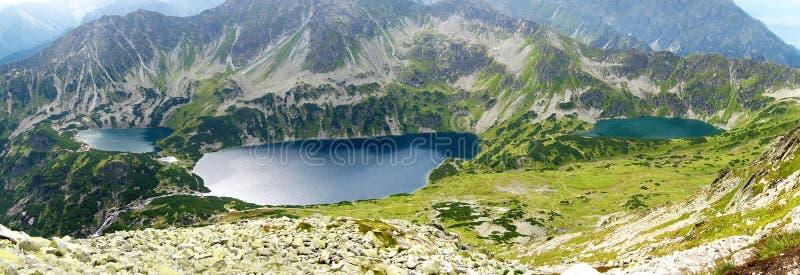 在波兰、青山、湖和岩石峰顶的Tatra山在与清楚的蓝天的晴天 免版税库存照片