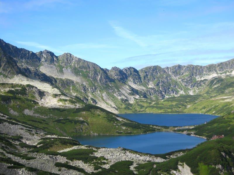 在波兰、青山、谷和岩石峰顶的Tatra山在与清楚的蓝天的晴天 免版税库存照片