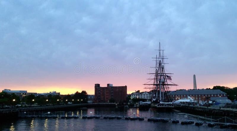 在波士顿停住的USS宪法,马萨诸塞 免版税库存图片