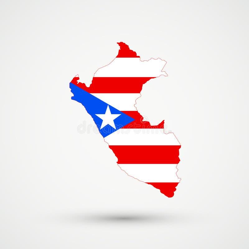 在波多黎各旗子颜色的秘鲁地图,编辑可能的传染媒介 向量例证