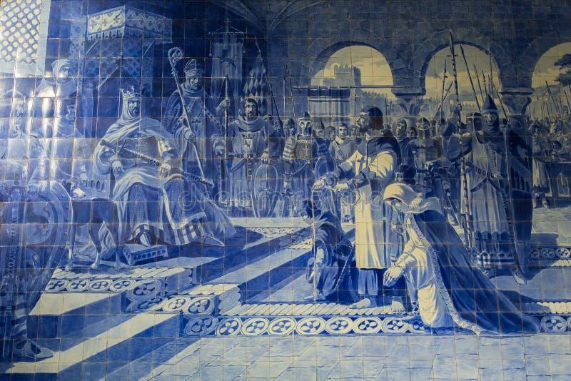 在波尔图圣地Benro火车站,波尔图的古老葡萄酒azulejos图片 库存照片
