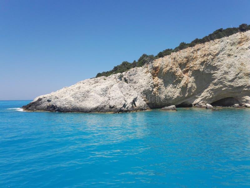 在波尔图Katsiki海滩,莱夫卡斯州,希腊的白色石头 库存照片