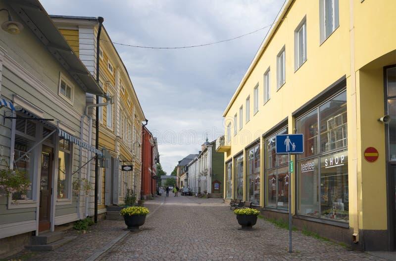 在波尔沃的老部分的步行街道 芬兰 免版税库存图片