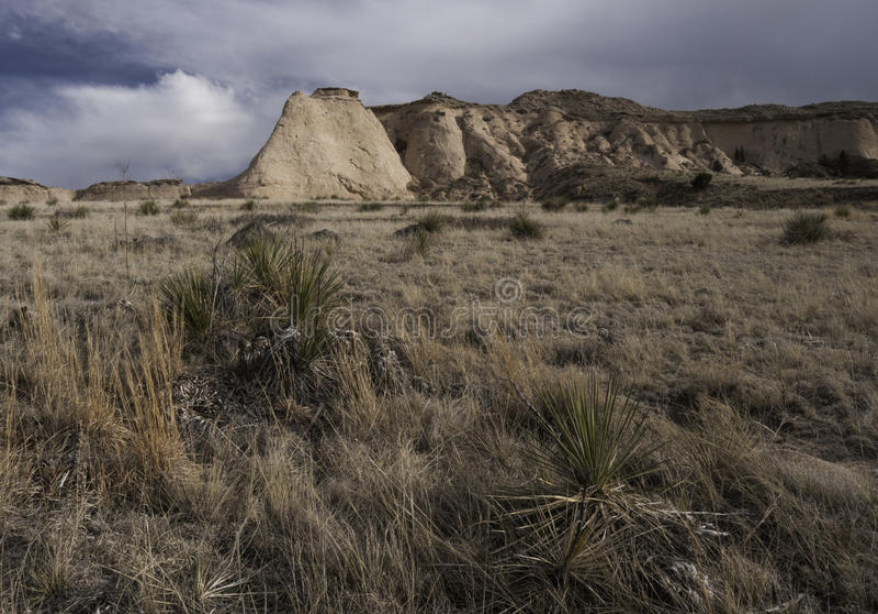 在波尼族印第安国民草原的悬崖 库存照片