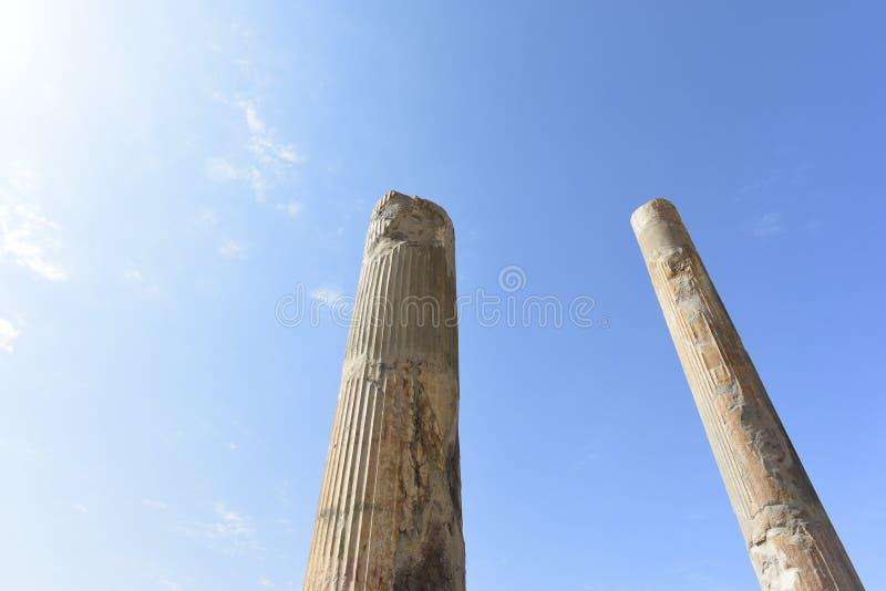 在波斯波利斯历史市,设拉子,伊朗的废墟 2016年9月12日 免版税库存照片