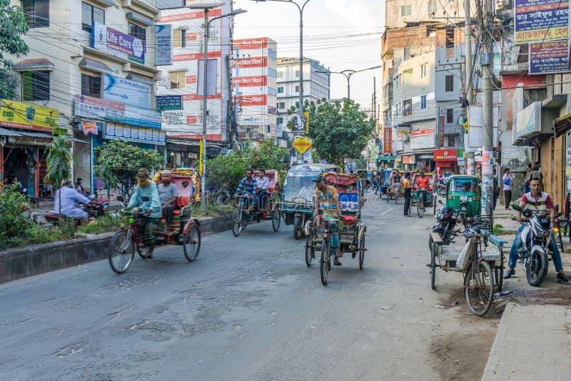 在波格拉 — 孟加拉国的街头 库存照片
