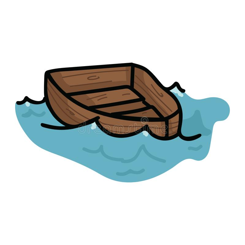 在波浪动画片传染媒介例证主题集合的逗人喜爱的帆船 航海博克的手拉的被隔绝的船舶元素clipart 皇族释放例证
