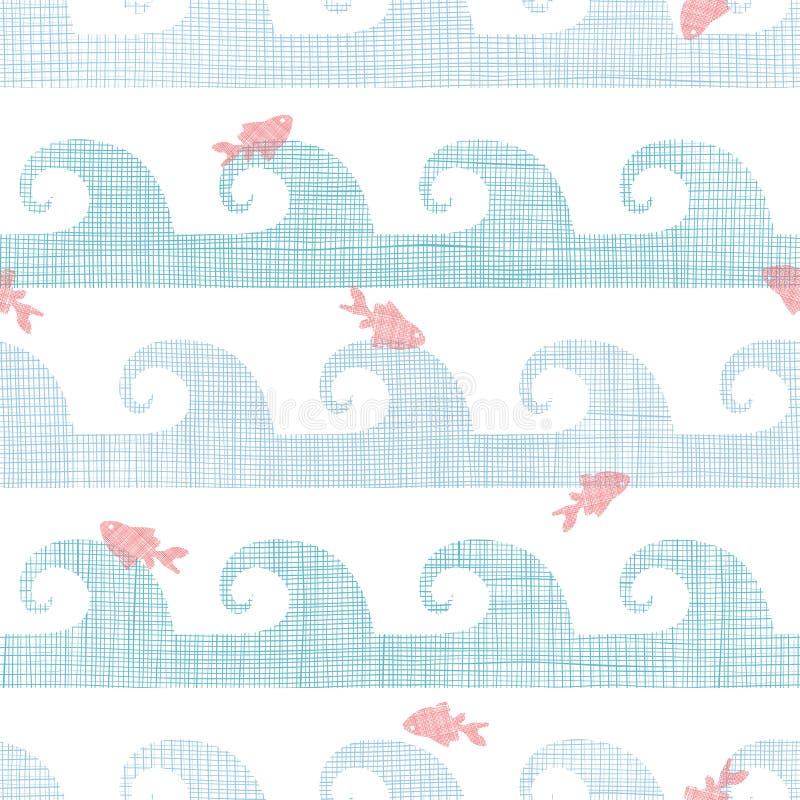 在波浪无缝的样式中的抽象纺织品鱼 皇族释放例证