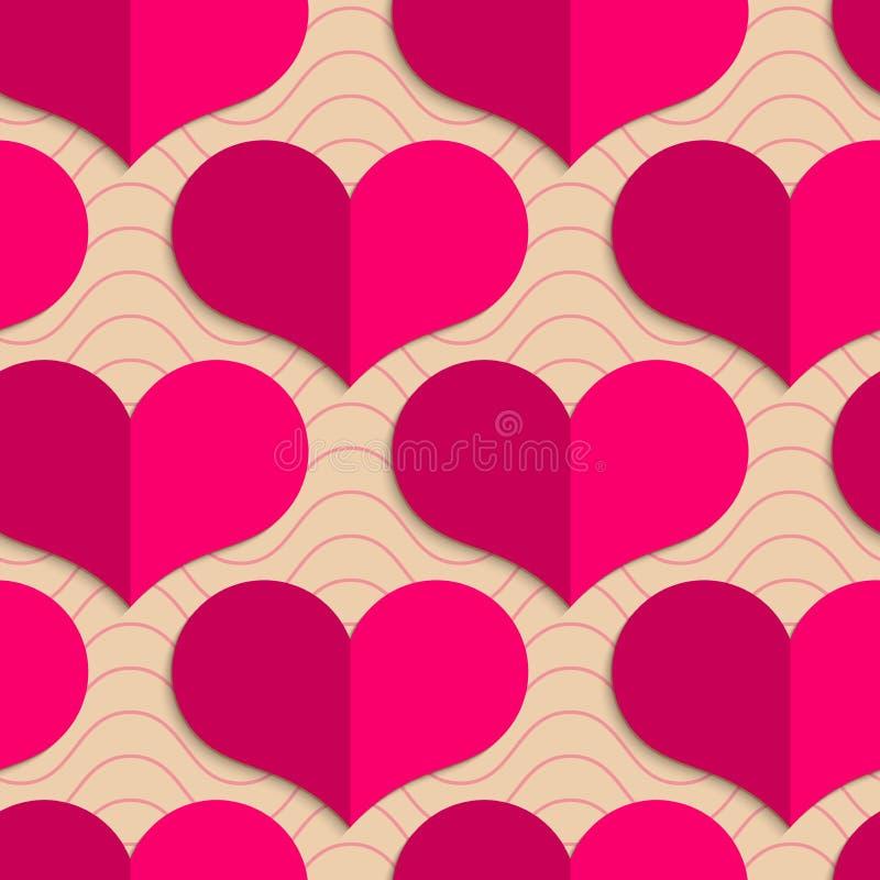 在波浪的减速火箭的折叠桃红色心脏 库存例证