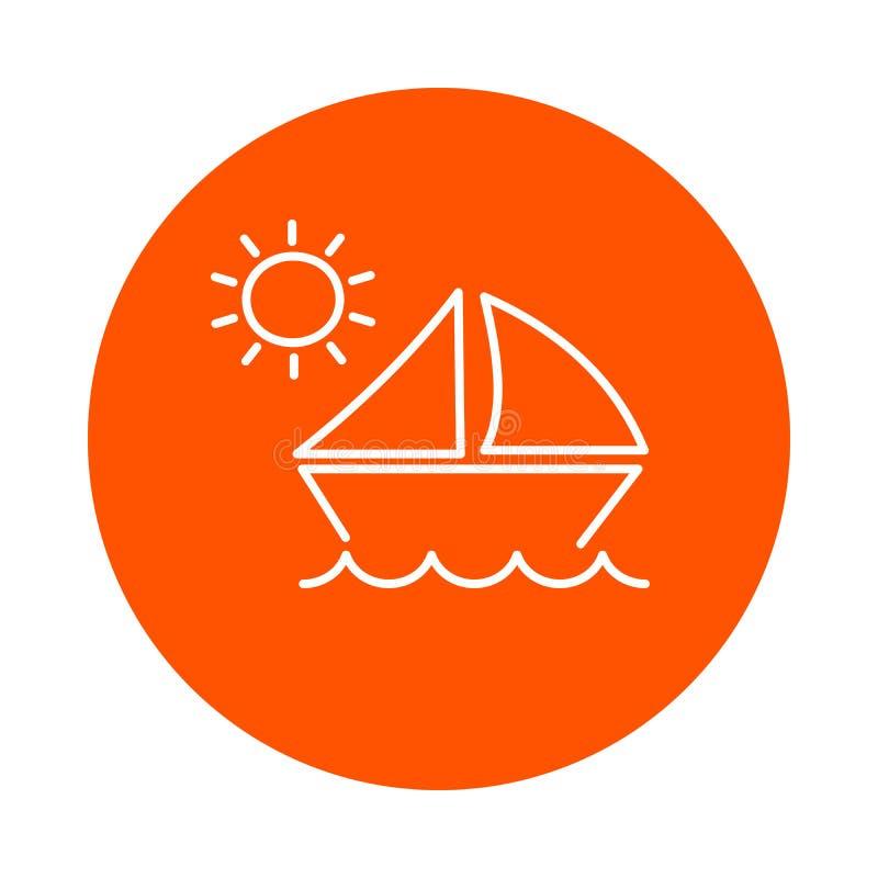 在波浪的风船在太阳,圆的单色象,平的样式下 库存例证