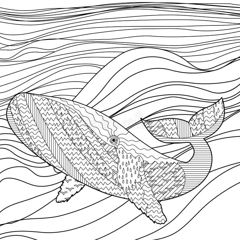 在波浪的鲸鱼反重音着色页的 向量例证