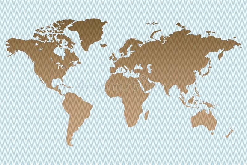 在波浪邮票背景的减速火箭的世界地图 皇族释放例证