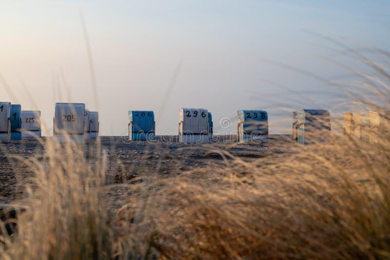 在波罗的海海滩的被顶房顶的海滩睡椅与褐色的早晨 图库摄影