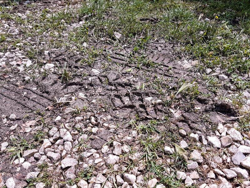 在泥泞的足迹样式的自行车和汽车轮胎轨道 泥和轮子在路追踪在与绿草的雨以后 库存图片