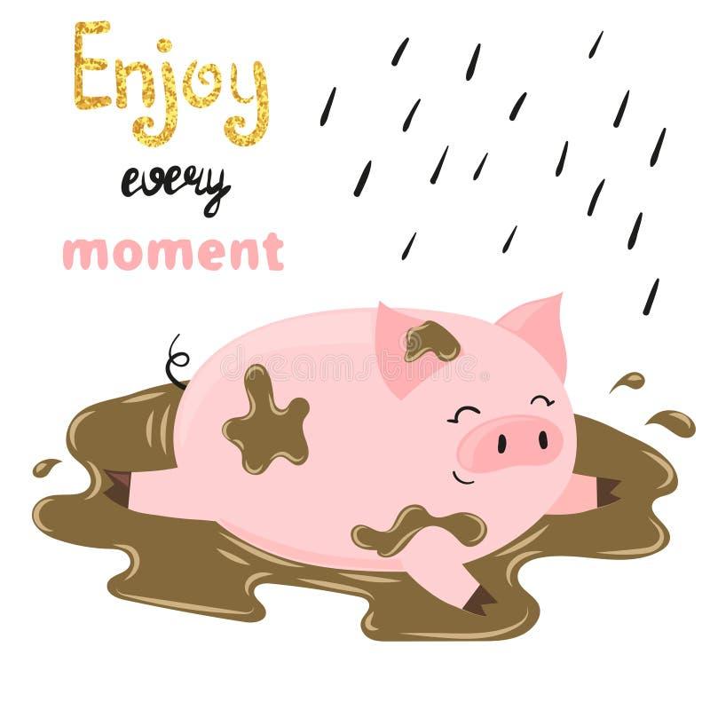 在泥的逗人喜爱的动画片猪 皇族释放例证