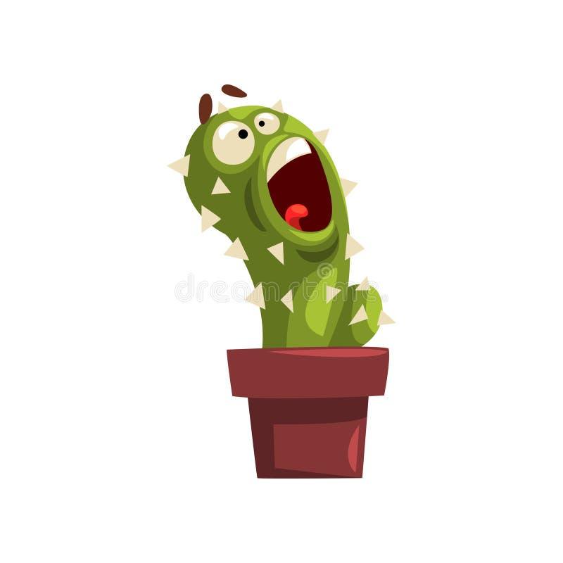 在泥罐的恼怒的仙人掌字符,有滑稽的面孔的多汁植物在花盆在白色的传染媒介例证 皇族释放例证