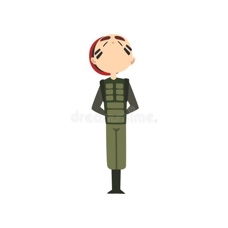 在注意的军人standng,在伪装制服的战士字符和红色贝雷帽动画片传染媒介例证 库存例证