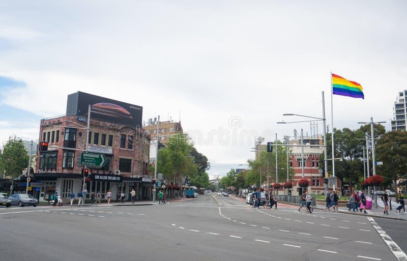 在泰勒广场, Darlinghurst,新南威尔斯的牛津街道 免版税图库摄影