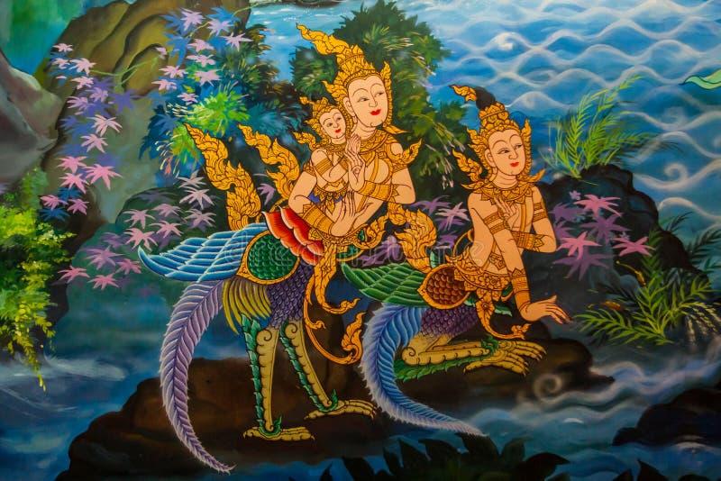 在泰国寺庙的古老泰国式壁画。 库存照片