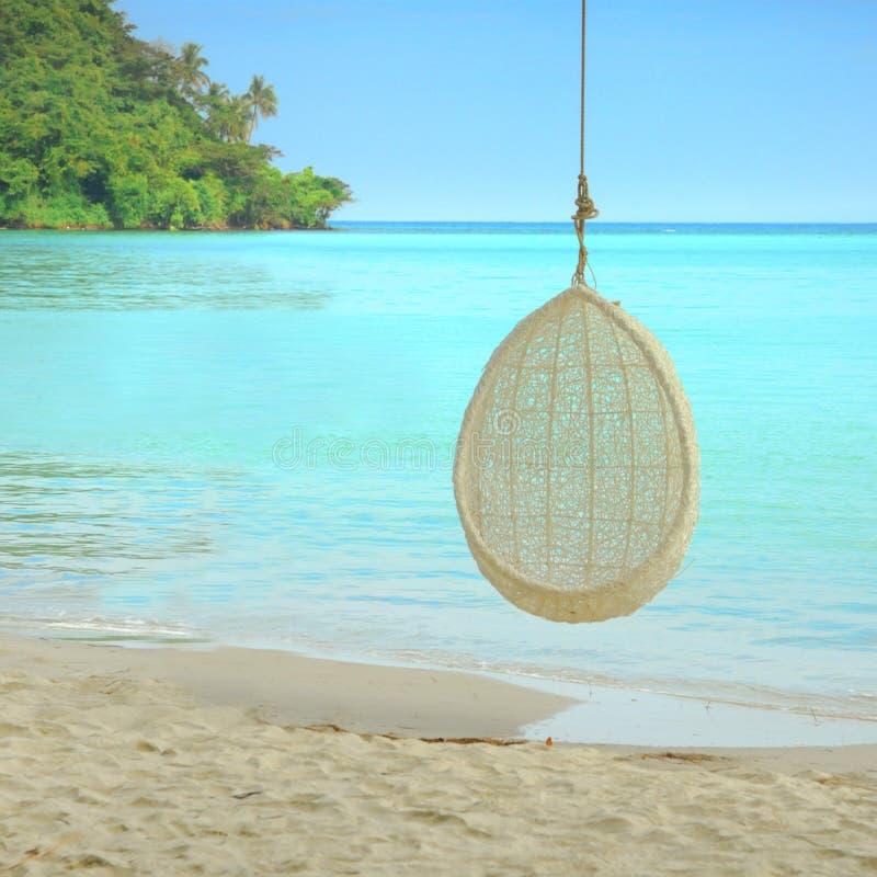 在泰国摇摆在树的吊在美丽的海滩 免版税图库摄影