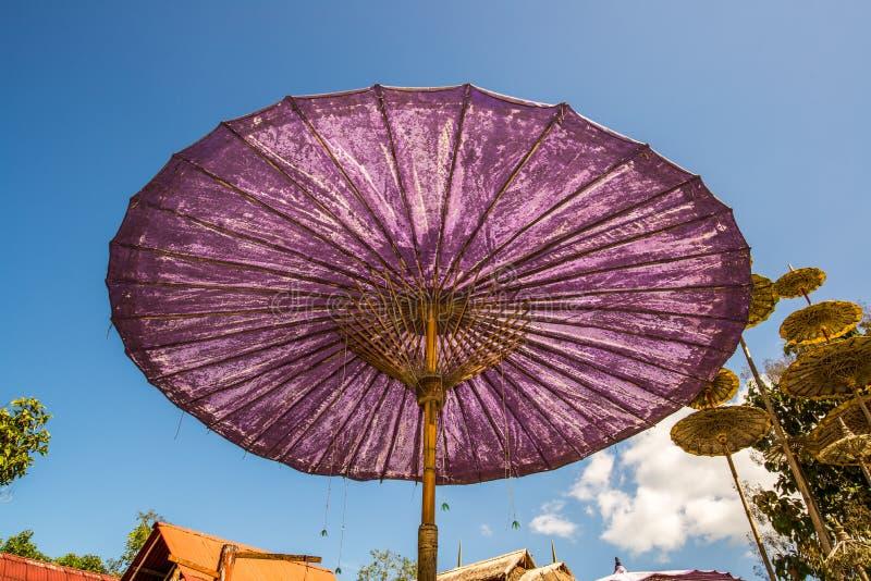 在泰国的北部的巨型紫色伞 库存照片