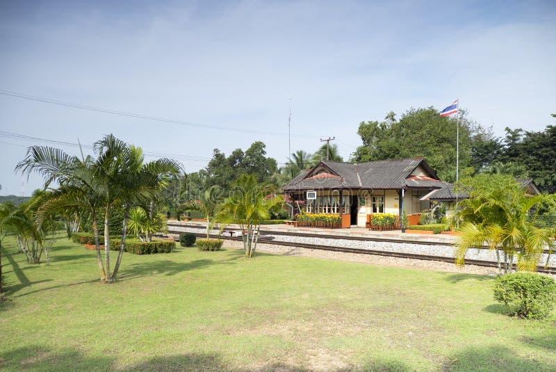 在泰国的南部的老火车站 图库摄影