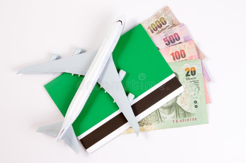 在泰国金钱的飞机,航空公司的上涨成本移动 免版税库存照片