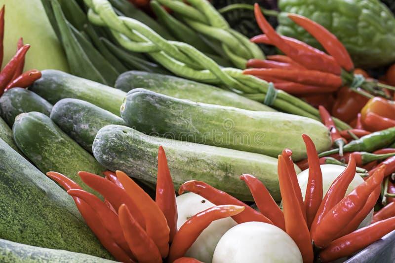 在泰国黄瓜、蕃茄、苦涩金瓜和红色辣椒的菜 免版税库存图片
