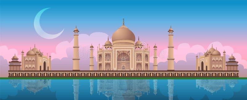在泰姬陵的日落在阿格拉,印度,全景传染媒介 皇族释放例证