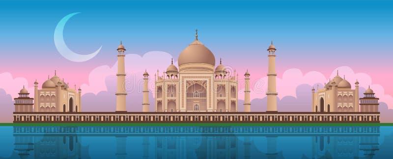 在泰姬陵的日落在阿格拉,印度,全景传染媒介 向量例证