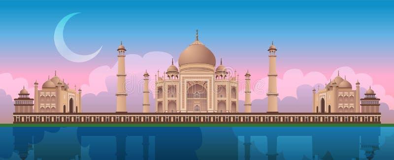 在泰姬陵的日落在阿格拉,印度,全景城市传染媒介 库存例证